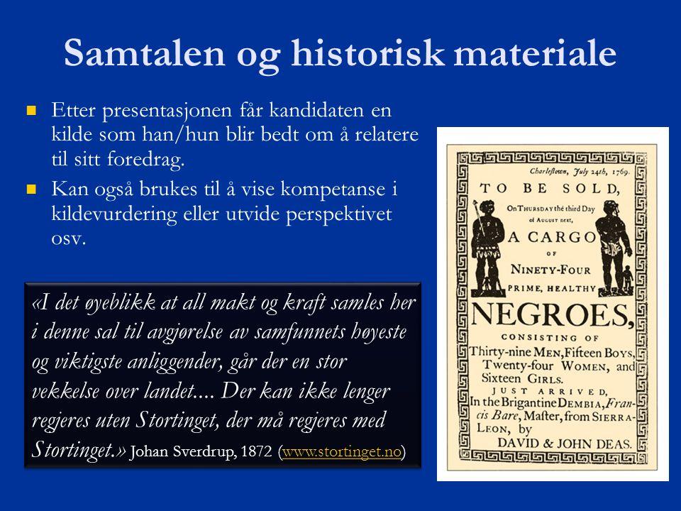 Samtalen og historisk materiale