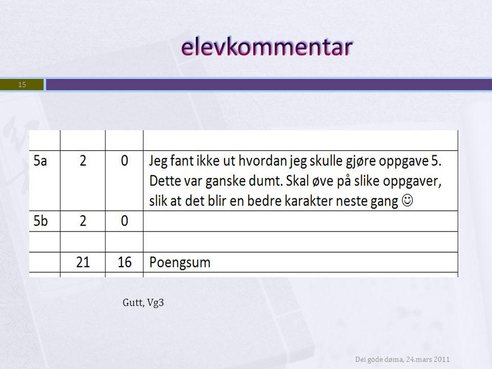 elevkommentar Gutt, Vg3 Dei gode døma, 24.mars 2011