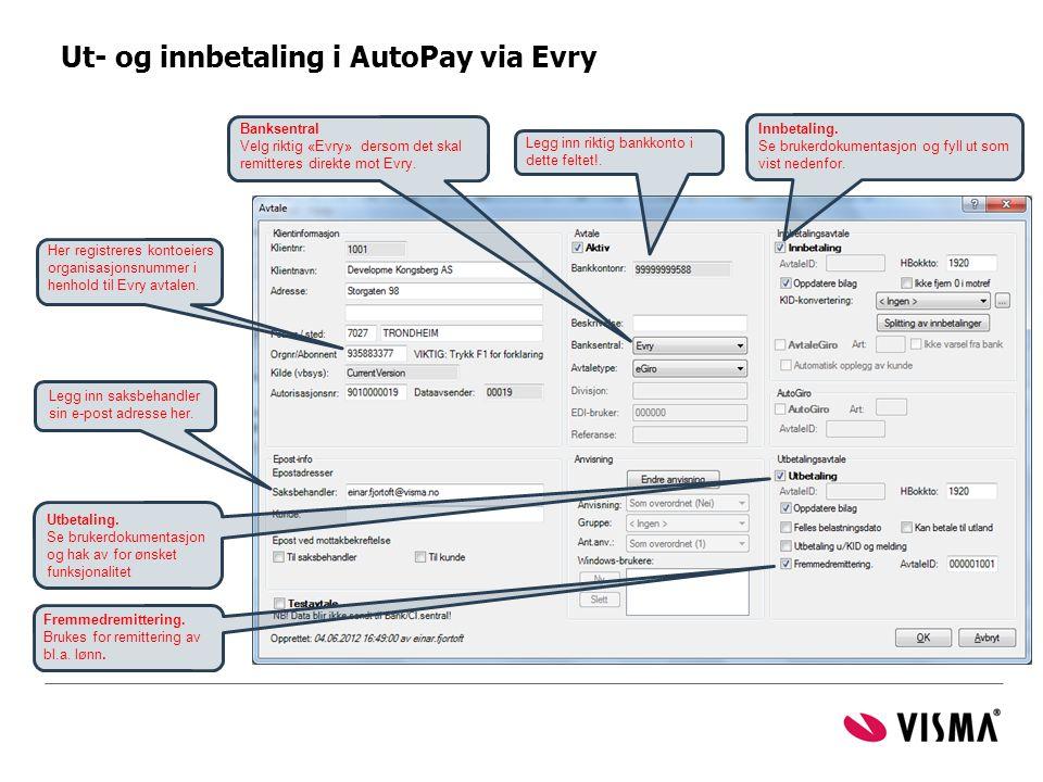 Ut- og innbetaling i AutoPay via Evry