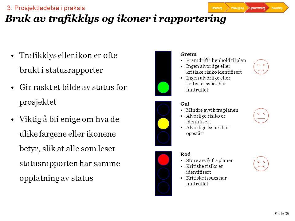 Bruk av trafikklys og ikoner i rapportering
