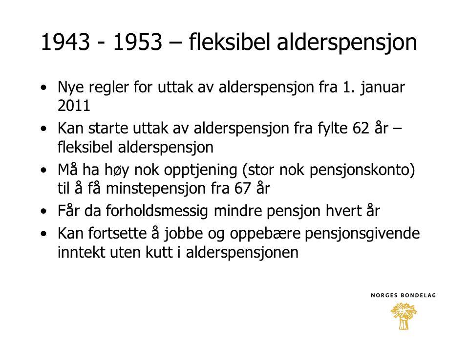 1943 - 1953 – fleksibel alderspensjon