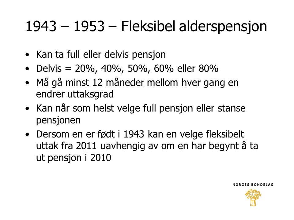1943 – 1953 – Fleksibel alderspensjon