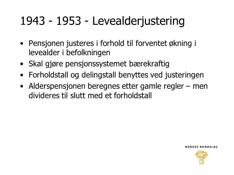 1943 - 1953 - Levealderjustering