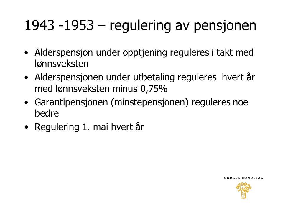 1943 -1953 – regulering av pensjonen