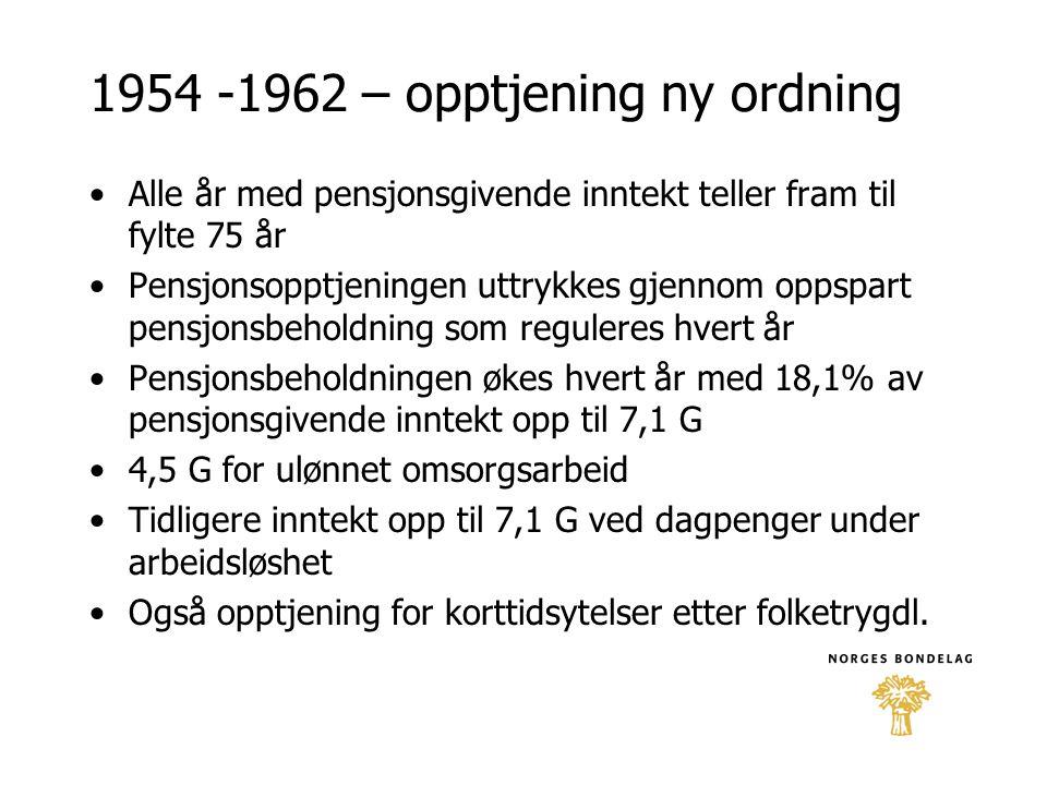 1954 -1962 – opptjening ny ordning