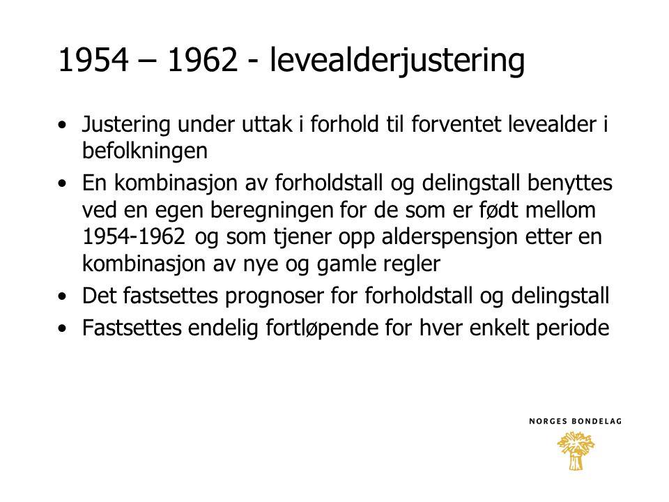 1954 – 1962 - levealderjustering
