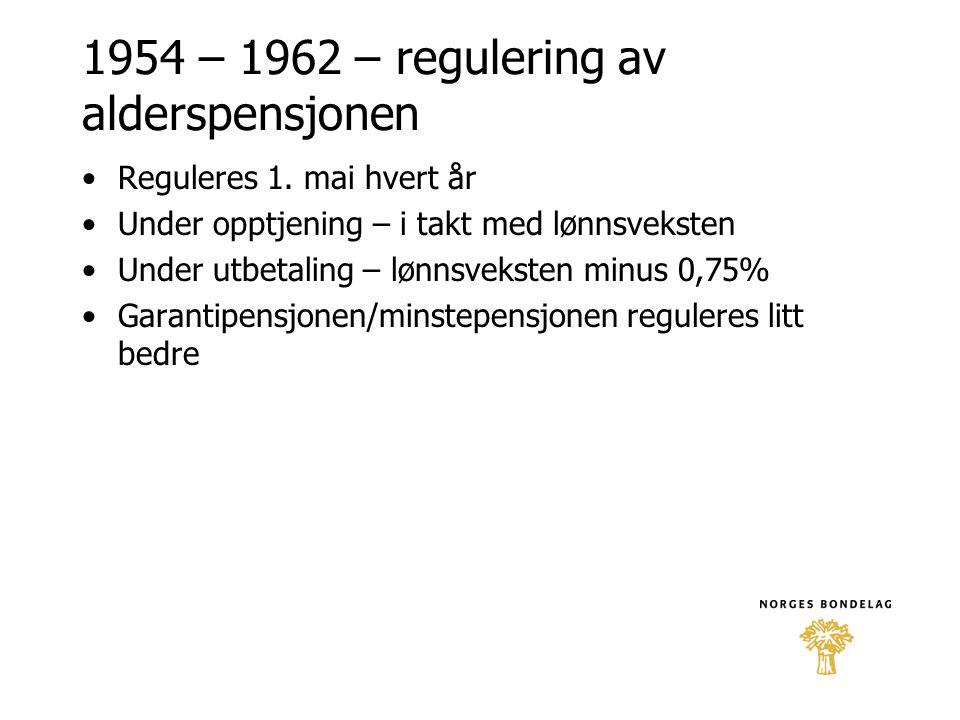 1954 – 1962 – regulering av alderspensjonen