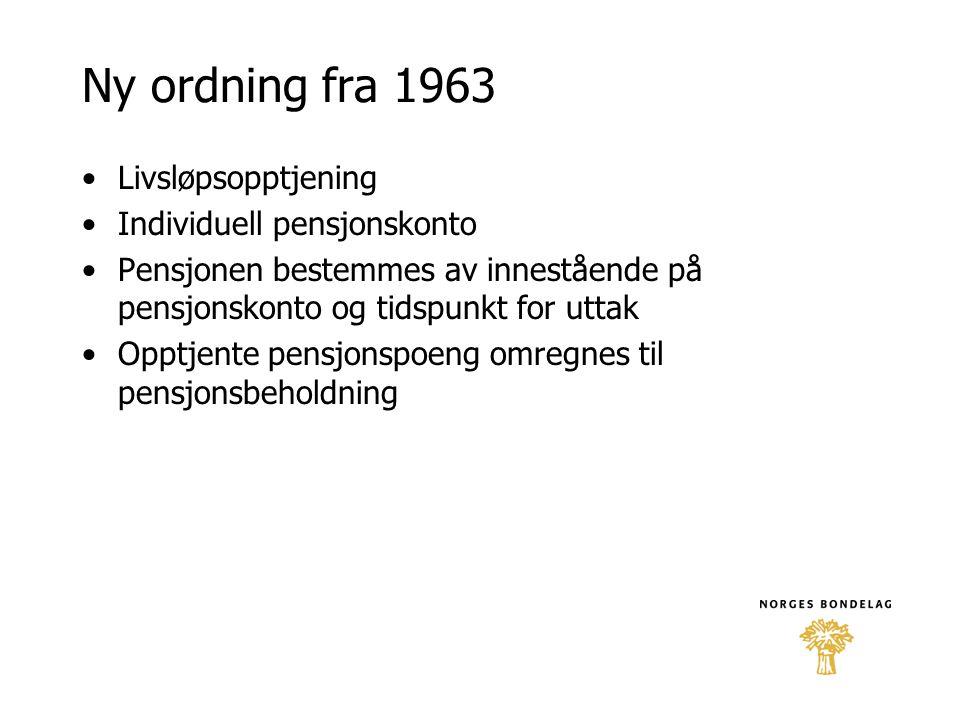 Ny ordning fra 1963 Livsløpsopptjening Individuell pensjonskonto