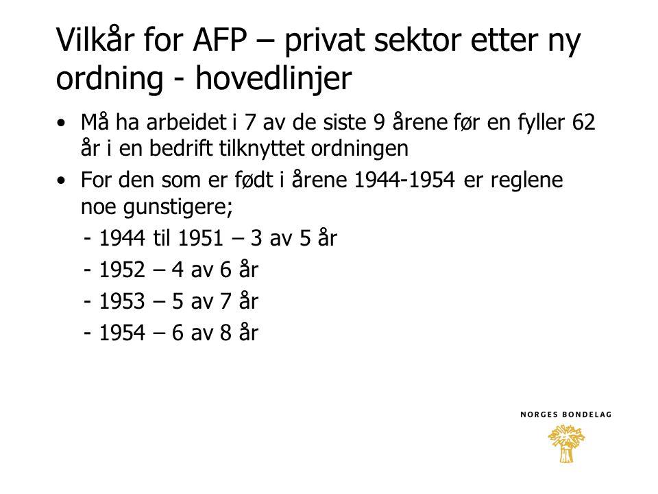 Vilkår for AFP – privat sektor etter ny ordning - hovedlinjer