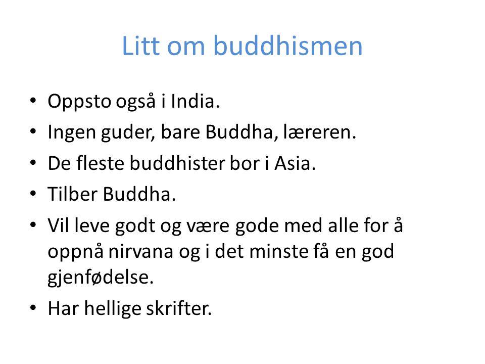 Litt om buddhismen Oppsto også i India.