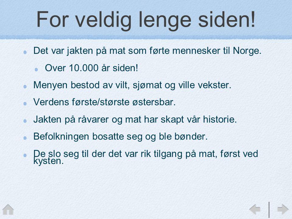 For veldig lenge siden! Det var jakten på mat som førte mennesker til Norge. Over 10.000 år siden!