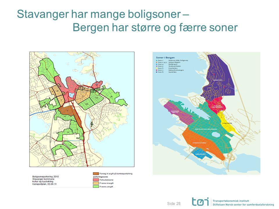 Stavanger har mange boligsoner – Bergen har større og færre soner