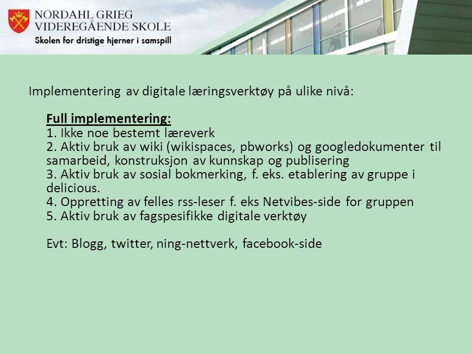 Implementering av digitale læringsverktøy på ulike nivå: Full implementering: 1.