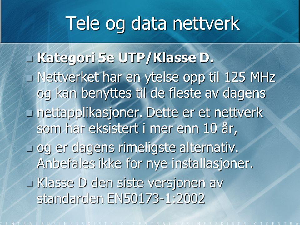 Tele og data nettverk Kategori 5e UTP/Klasse D.