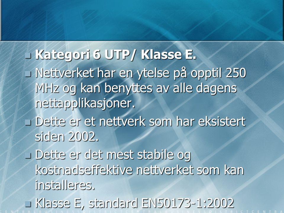 Kategori 6 UTP/ Klasse E. Nettverket har en ytelse på opptil 250 MHz og kan benyttes av alle dagens nettapplikasjoner.