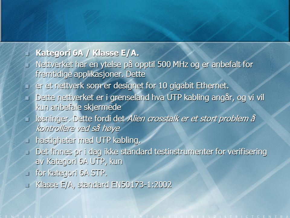 Kategori 6A / Klasse E/A. Nettverket har en ytelse på opptil 500 MHz og er anbefalt for fremtidige applikasjoner. Dette.