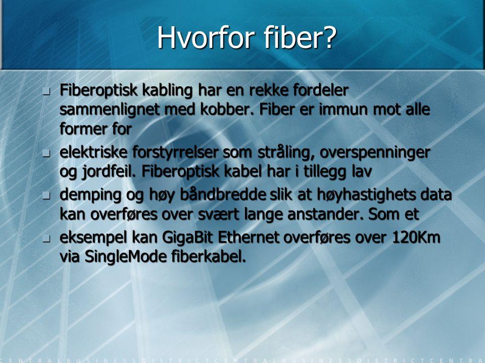 Hvorfor fiber Fiberoptisk kabling har en rekke fordeler sammenlignet med kobber. Fiber er immun mot alle former for.