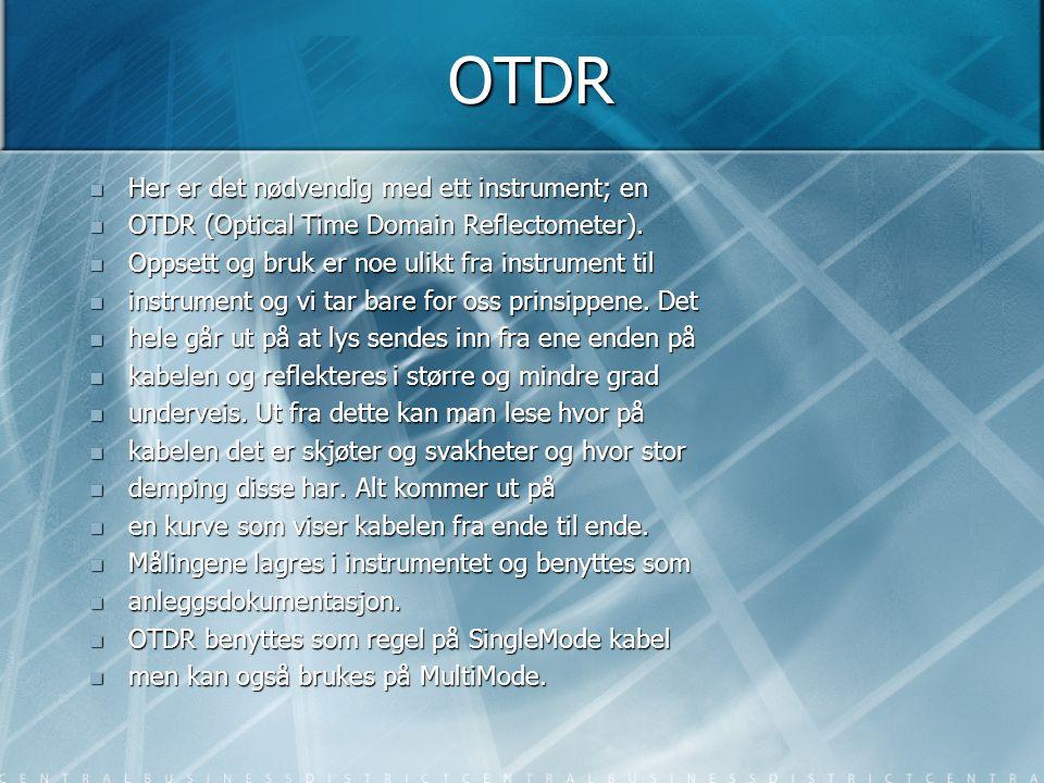 OTDR Her er det nødvendig med ett instrument; en