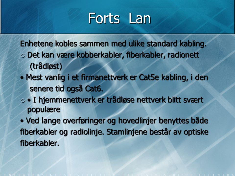 Forts Lan Enhetene kobles sammen med ulike standard kabling.
