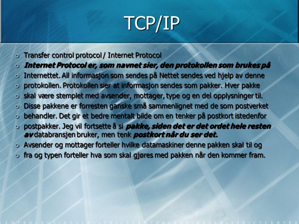 TCP/IP Transfer control protocol / Internet Protocol