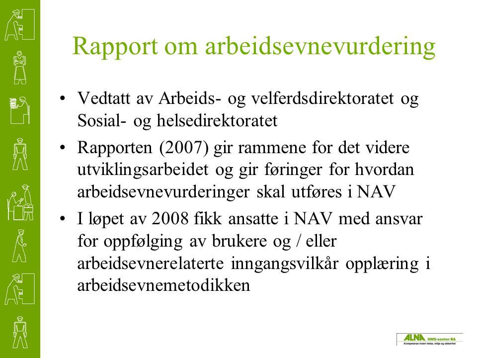 Rapport om arbeidsevnevurdering