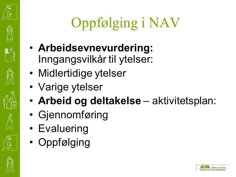 Oppfølging i NAV Arbeidsevnevurdering: Inngangsvilkår til ytelser: