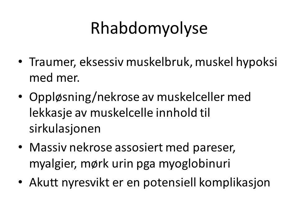 Rhabdomyolyse Traumer, eksessiv muskelbruk, muskel hypoksi med mer.