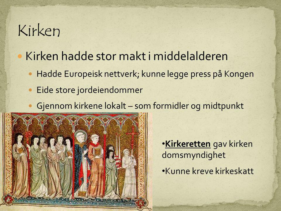 Kirken Kirken hadde stor makt i middelalderen