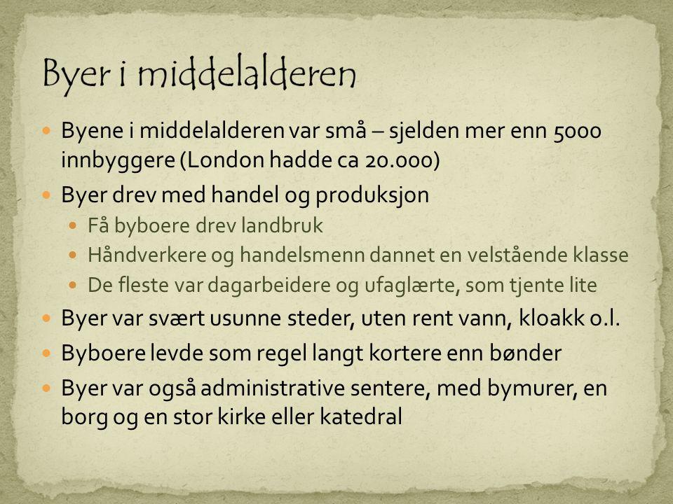 Byer i middelalderen Byene i middelalderen var små – sjelden mer enn 5000 innbyggere (London hadde ca 20.000)