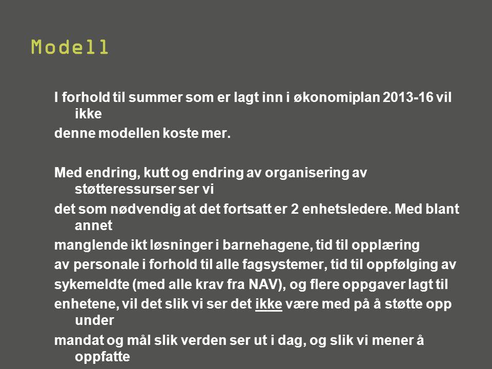 Modell I forhold til summer som er lagt inn i økonomiplan 2013-16 vil ikke. denne modellen koste mer.