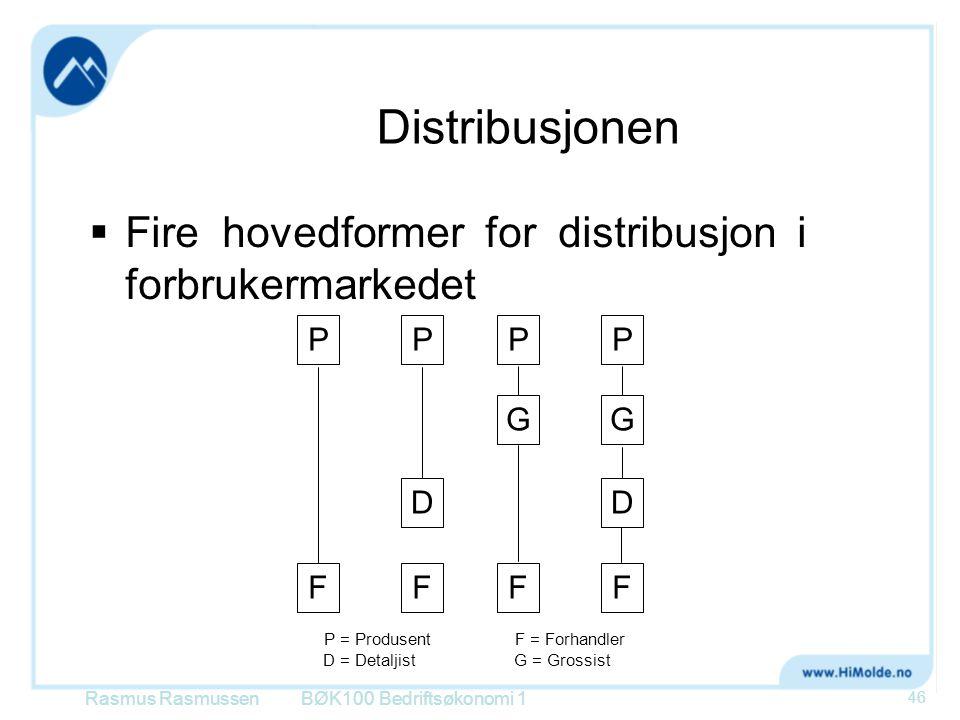 Distribusjonen Fire hovedformer for distribusjon i forbrukermarkedet P