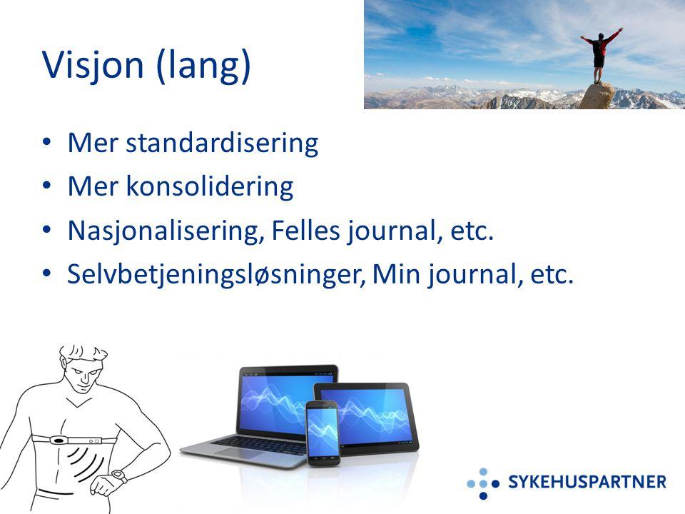 Visjon (lang) Mer standardisering Mer konsolidering