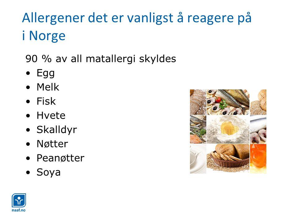 Allergener det er vanligst å reagere på i Norge
