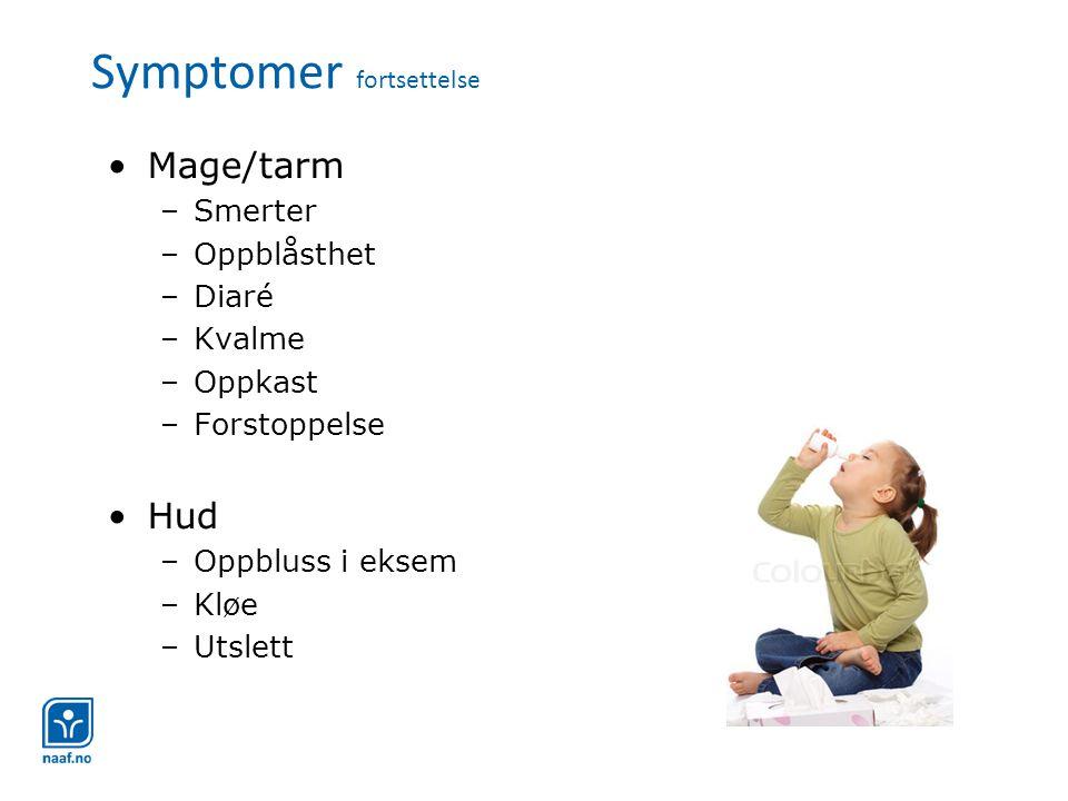 Symptomer fortsettelse