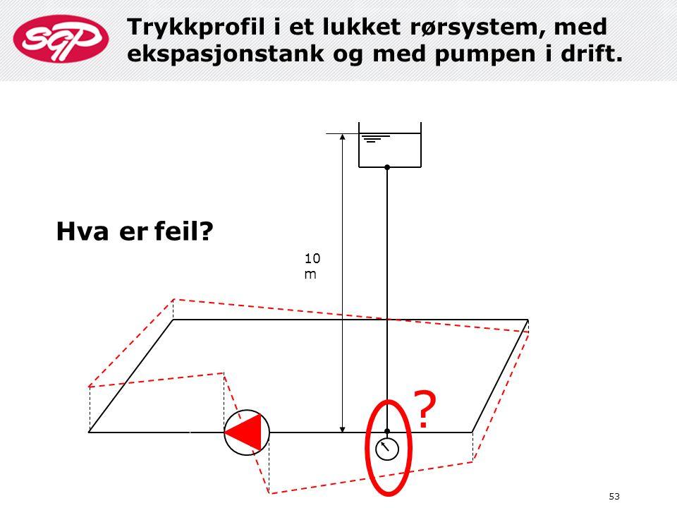 Trykkprofil i et lukket rørsystem, med ekspasjonstank og med pumpen i drift.