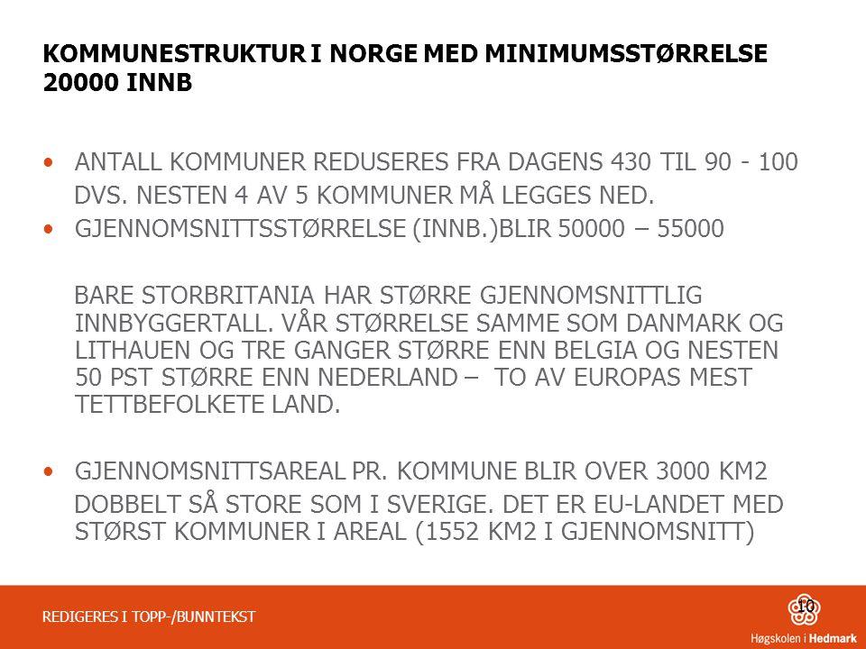 KOMMUNESTRUKTUR I NORGE MED MINIMUMSSTØRRELSE 20000 INNB
