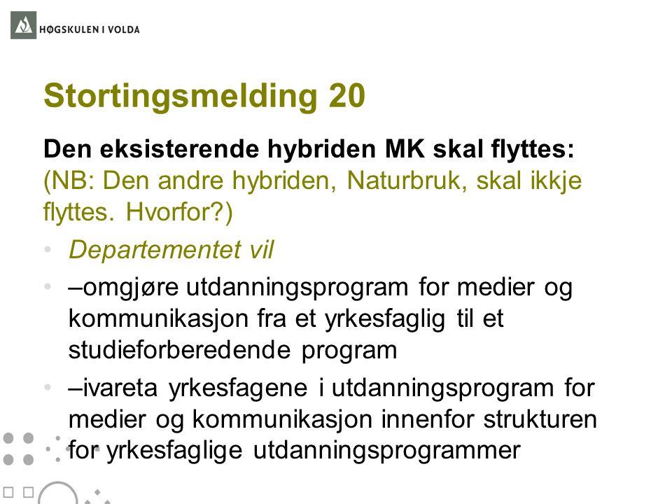 Stortingsmelding 20 Den eksisterende hybriden MK skal flyttes: (NB: Den andre hybriden, Naturbruk, skal ikkje flyttes. Hvorfor )
