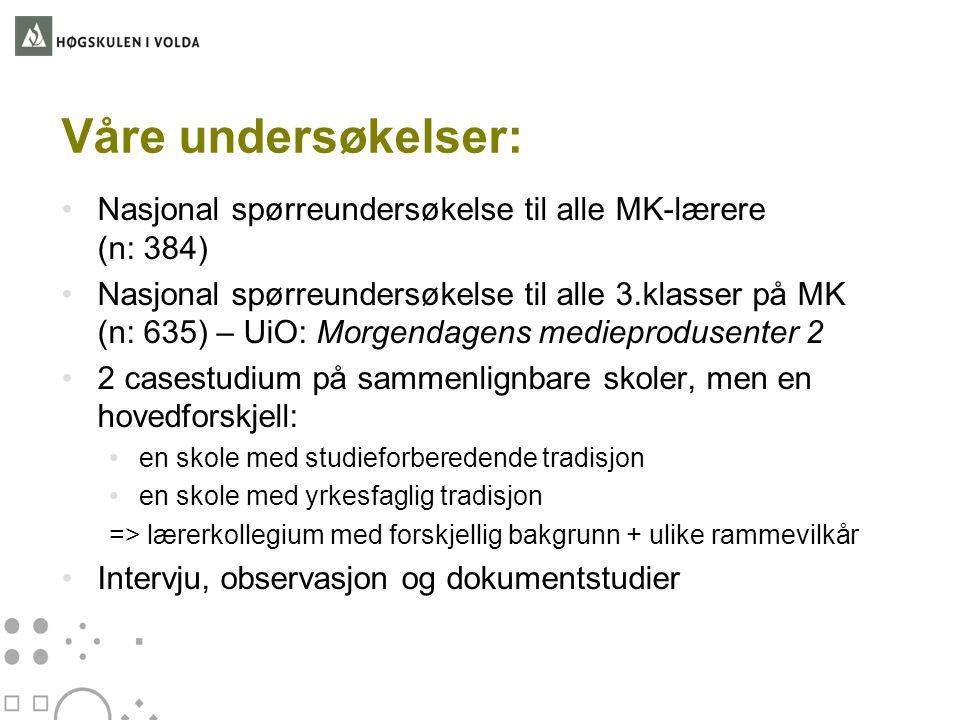 Våre undersøkelser: Nasjonal spørreundersøkelse til alle MK-lærere (n: 384)