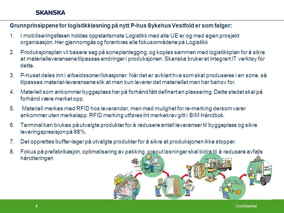 Grunnprinsippene for logistikkløsning på nytt P-hus Sykehus Vestfold er som følger: