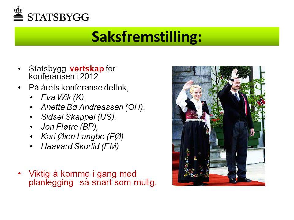 Saksfremstilling: Statsbygg vertskap for konferansen i 2012. På årets konferanse deltok; Eva Wik (K),