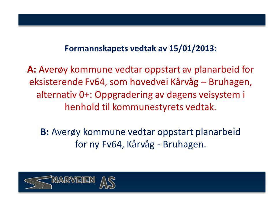 Formannskapets vedtak av 15/01/2013: A: Averøy kommune vedtar oppstart av planarbeid for eksisterende Fv64, som hovedvei Kårvåg – Bruhagen, alternativ 0+: Oppgradering av dagens veisystem i henhold til kommunestyrets vedtak.