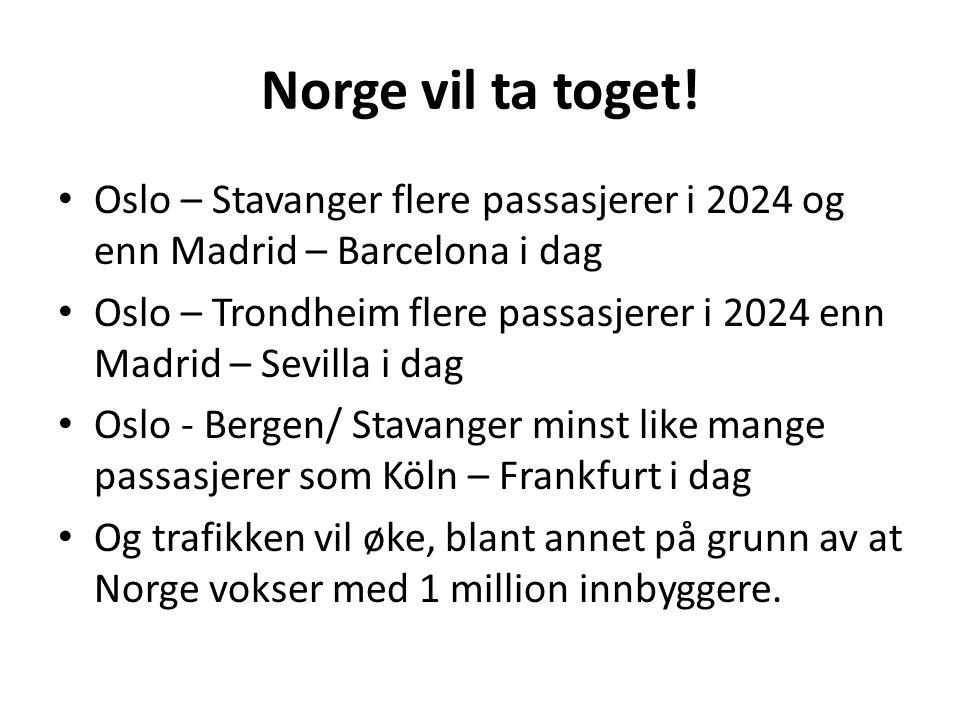 Norge vil ta toget! Oslo – Stavanger flere passasjerer i 2024 og enn Madrid – Barcelona i dag.