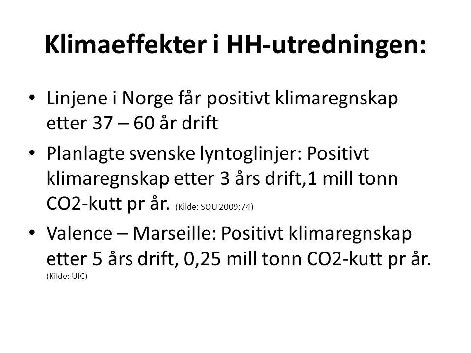 Klimaeffekter i HH-utredningen: