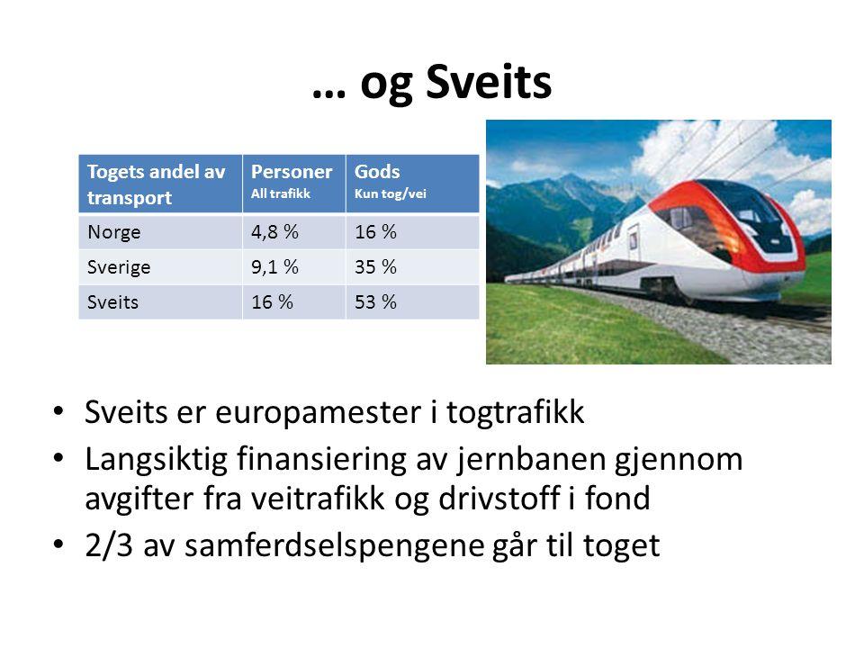… og Sveits Sveits er europamester i togtrafikk