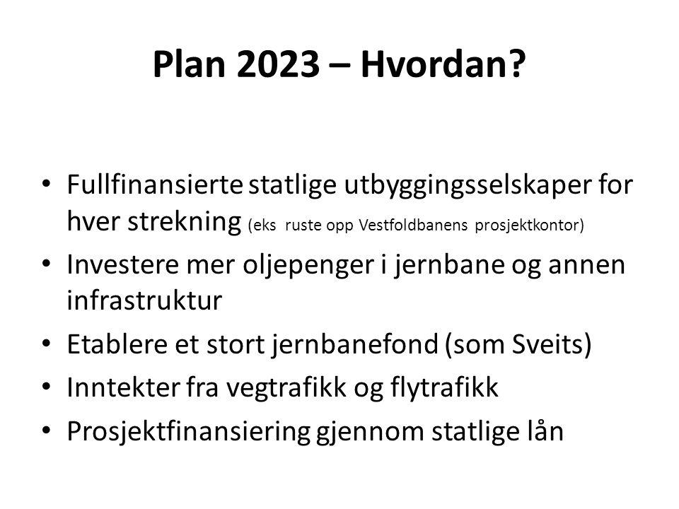 Plan 2023 – Hvordan Fullfinansierte statlige utbyggingsselskaper for hver strekning (eks ruste opp Vestfoldbanens prosjektkontor)