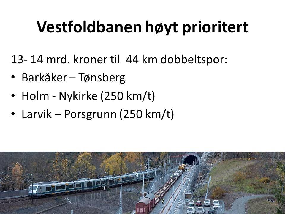 Vestfoldbanen høyt prioritert