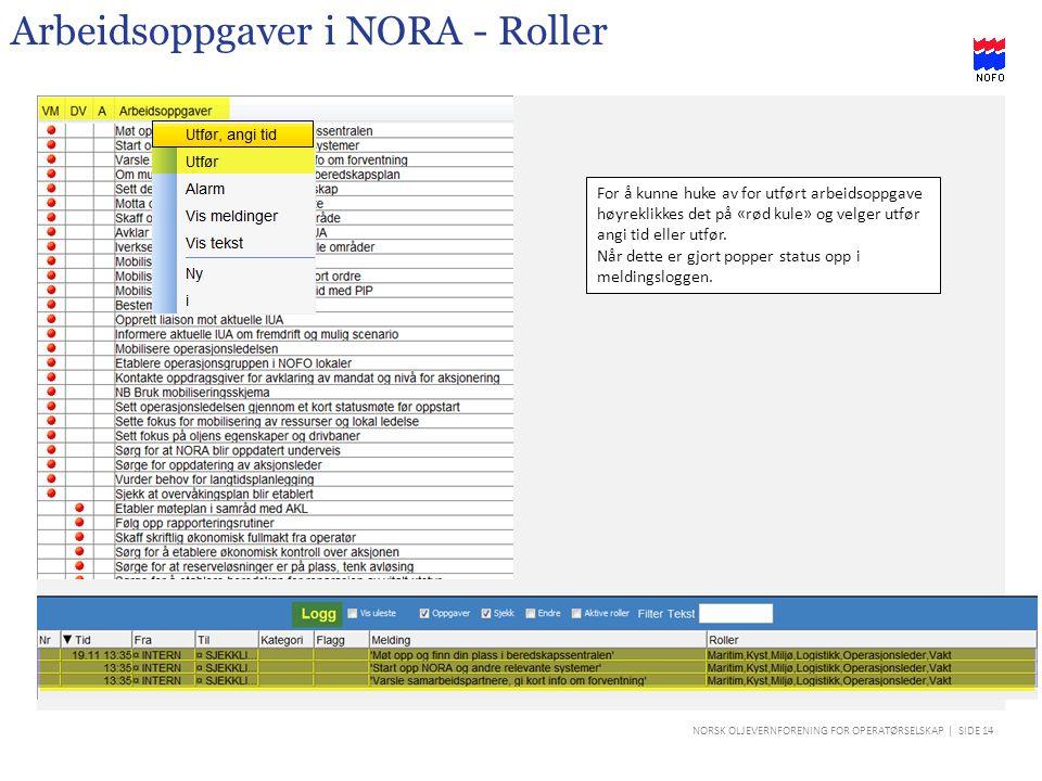 Arbeidsoppgaver i NORA - Roller