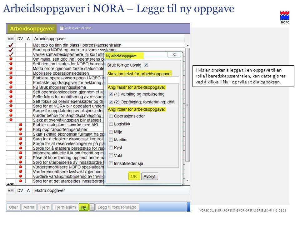 Arbeidsoppgaver i NORA – Legge til ny oppgave
