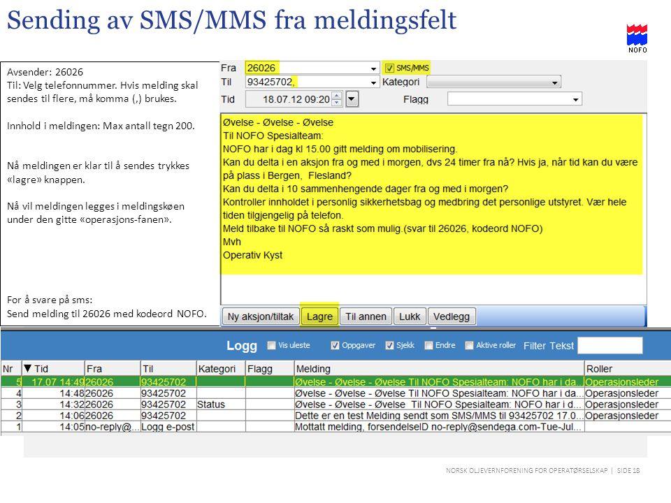 Sending av SMS/MMS fra meldingsfelt