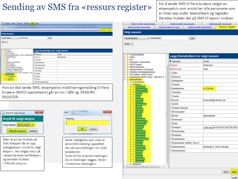 Sending av SMS fra «ressurs register»